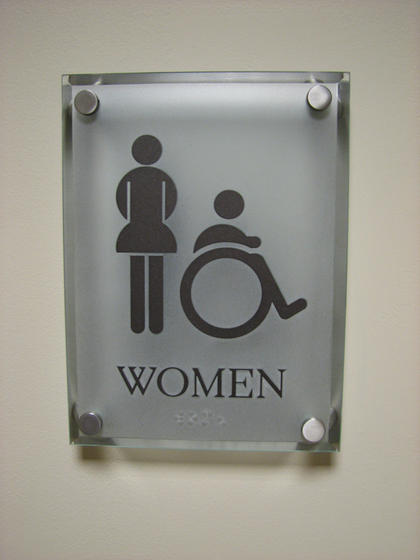 Stainless steel bathroom signs for Stainless steel bathroom signs