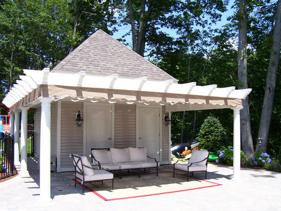 awning posts gray best pin stained tough crossbeams pergola roof rafters design finish quality retractable metal cover